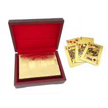 24  Karat  Guld  Kortspil  -  Med  Eksklusiv  Trææske