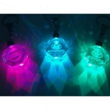 Krystal nøglering med logo og lys