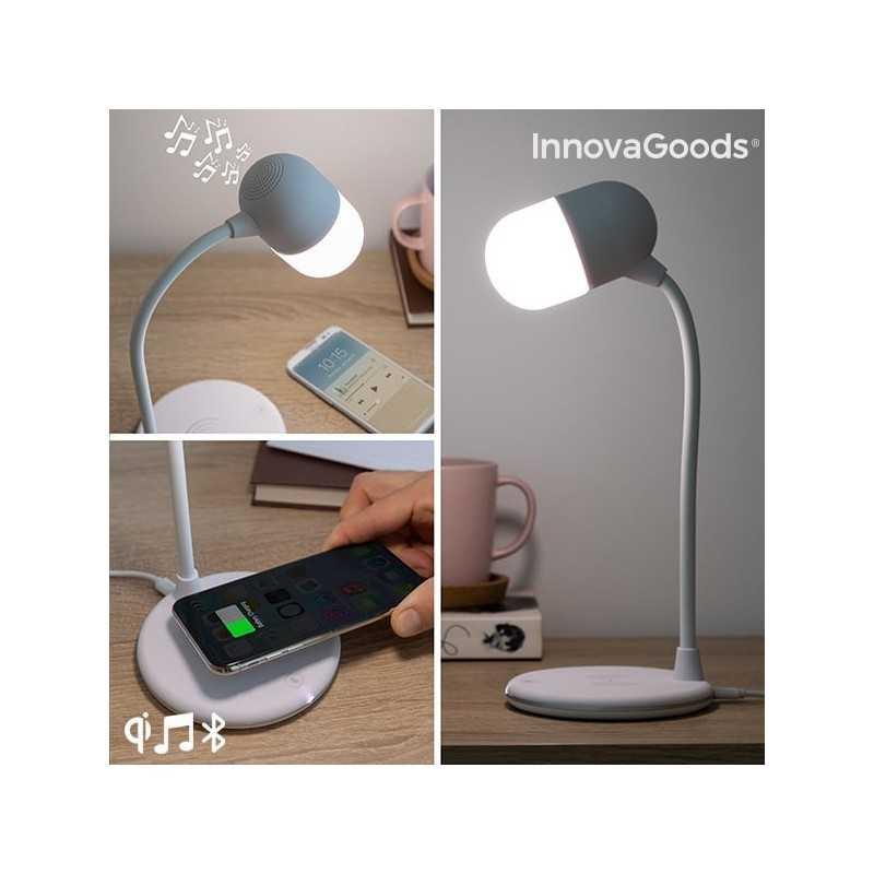 Hvid LED-lampe med højtaler og trådløs oplader