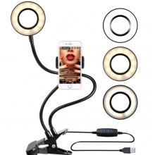 Fleksibel Selfie Ring lys med telefonholder