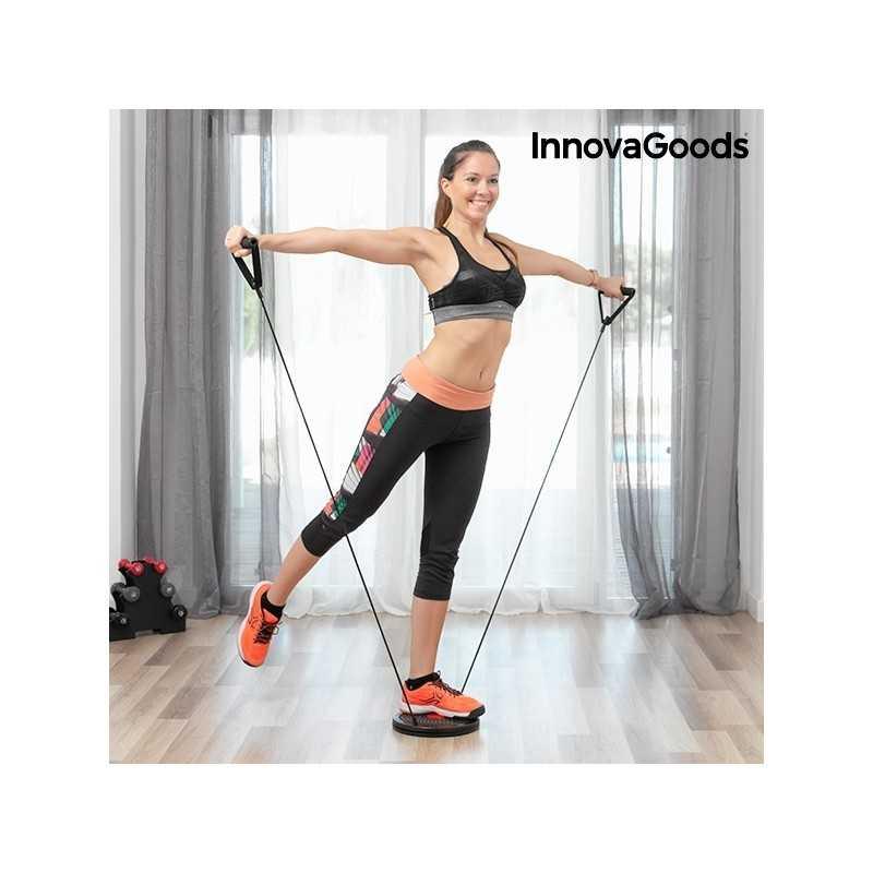 Roterende fitness disk med træningselastikker