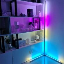 LED RGB hjørnelampe (sølv) med fjernbetjening