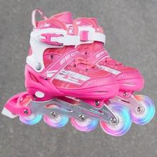 Justerbare rulleskøjter med lys i hjulene PRO - Pink