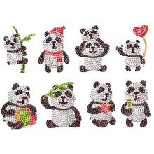 Diamond paint panda klistermærker - 8 stk